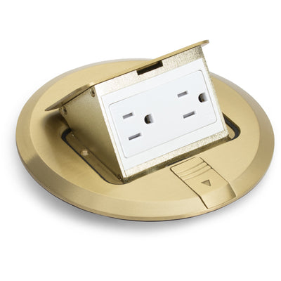 Lew Electric PUFP-SQ-BD Pop Up Floor Box, 15A Outlet, No Box, Brass