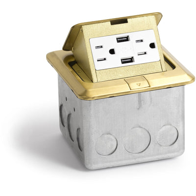 Lew Electric PUFp-SQ-BR-2USB Indoor Floor Box Pop 15 Amp Duplex Power Outlet and 2 Charging USB - Brass
