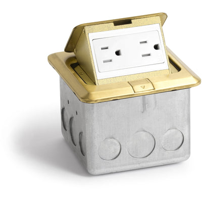 Lew Electric PUFp-SQ-BR Indoor Floor Box Pop 15 Amp Duplex Power Outlet - Brass
