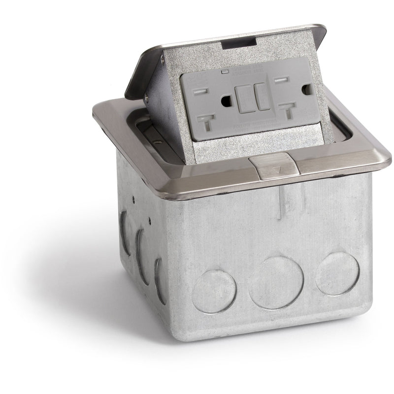 Lew Electric PUFp-SQ-BR-GFI Indoor Floor Box Pop 20 Amp GFI Duplex Power Outlet - Stainless Steel
