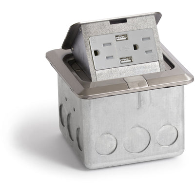 Pop Up Floor Box w/ 15A Duplex Power & 2 USB Charging, Stainless Steel