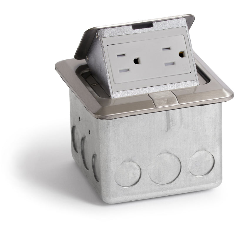 Lew Electric PUFP-SQ-SS Indoor Floor Box Pop 15 Amp Duplex Power Outlet - Stainless Steel