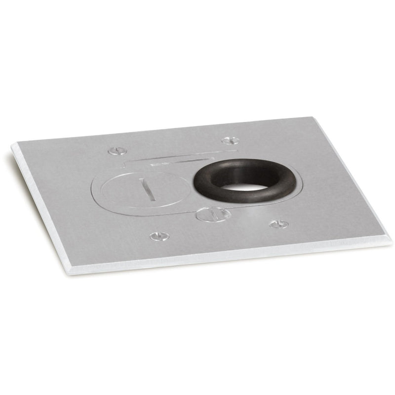 Concealed Plug Recessed Floor Box, One Duplex, Screw Plugs, Aluminum
