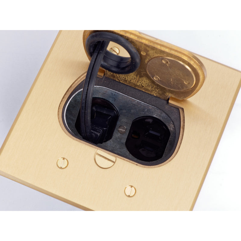 Lew Electric RCFB-1 Concealed Plug Floor Box, Single Cord Coming Out, Lid Open