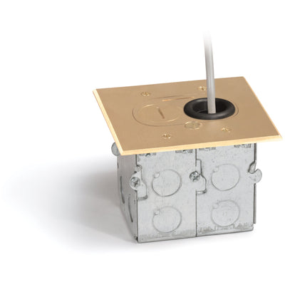 Lew Electric RCFB-1 Concealed Plug Floor Box, One 15A Duplex, Brass