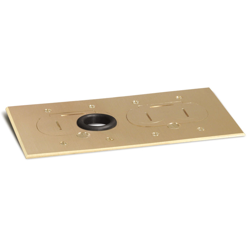 Lew Electric RCFB-2-BP 2 Duplex Plug Cover for RCFB-2 Floor Box, Brass