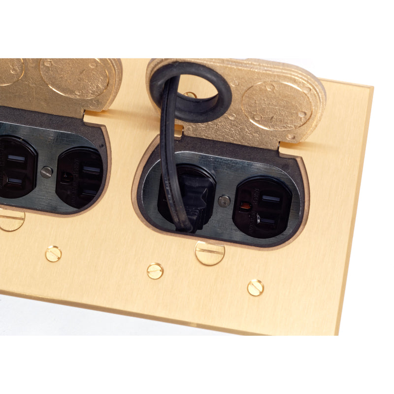 Lew Electric RCFB-2 Concealed 4 Plug Floor Box, Brass
