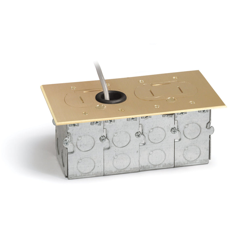 Lew Electric RCFB-2 Concealed Plug Floor Box, Two 15A Duplexes, Brass