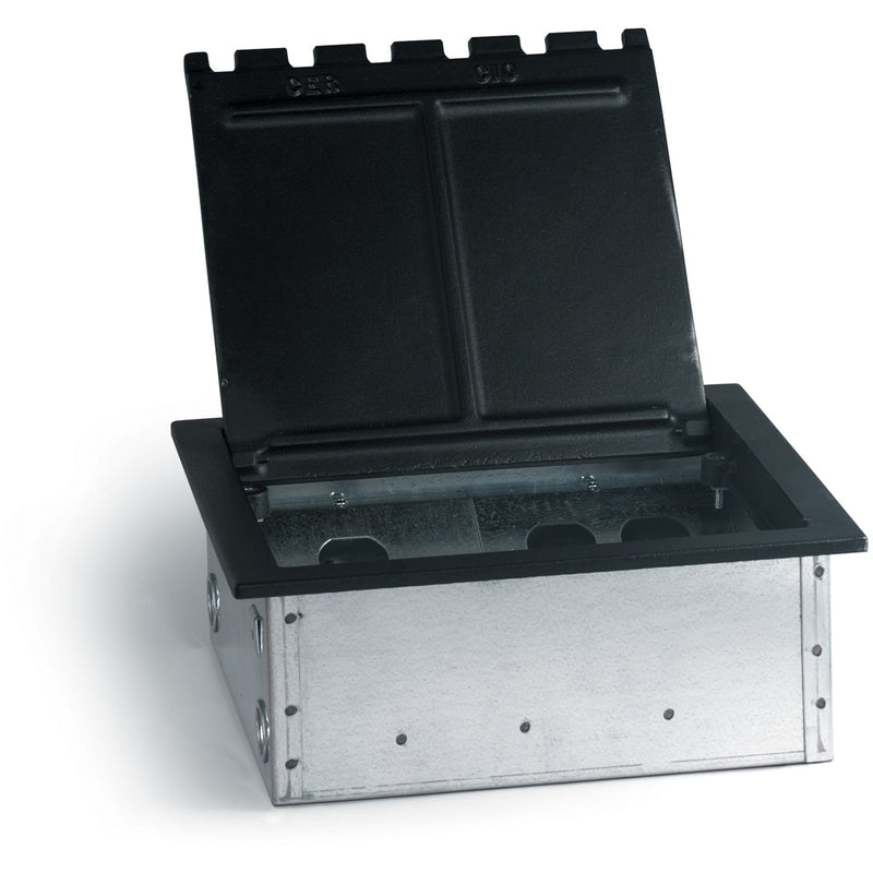 Lew Electric RF10C8K Black Concrete Floor Box with Lid, Cutouts for 4 Decora and 8 Keystone Jacks
