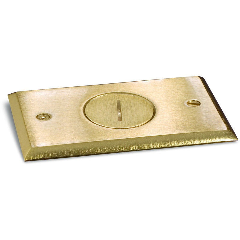 Recessed Floor Plate w/ Box, One 15A Receptacle, 1 Screw Plug, Brass