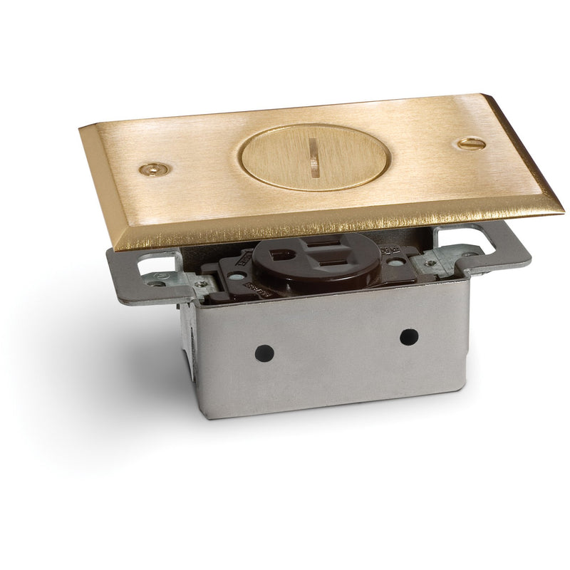 Lew Electric RRP-1-BP 1 Outlet Quick Install Floor Plate no Box, Brass