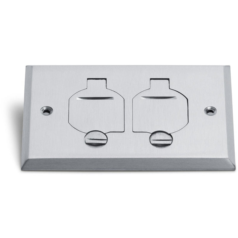 1 Duplex 15A Power Plastic Floor Box with Flip Lids - Aluminum Cover