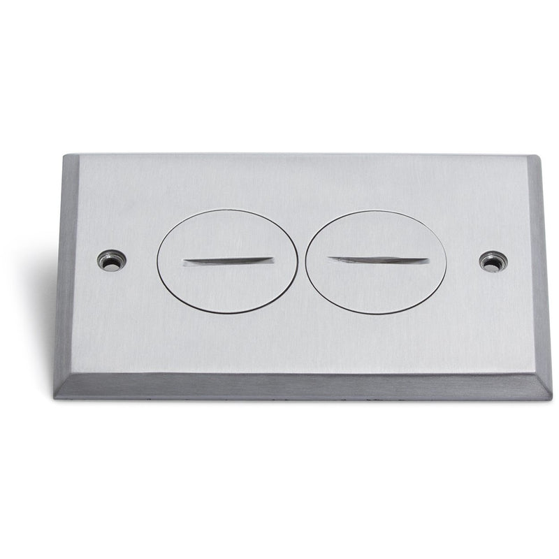 1 Duplex 15A Power Plastic Floor Box with Screw Plugs - Aluminum Cover