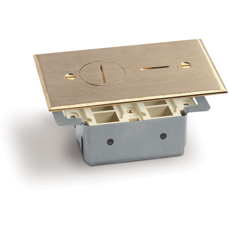 Lew Electric RRP-2-T Floor Plate, 2 Screw Plugs, 4 Keystone, Brass