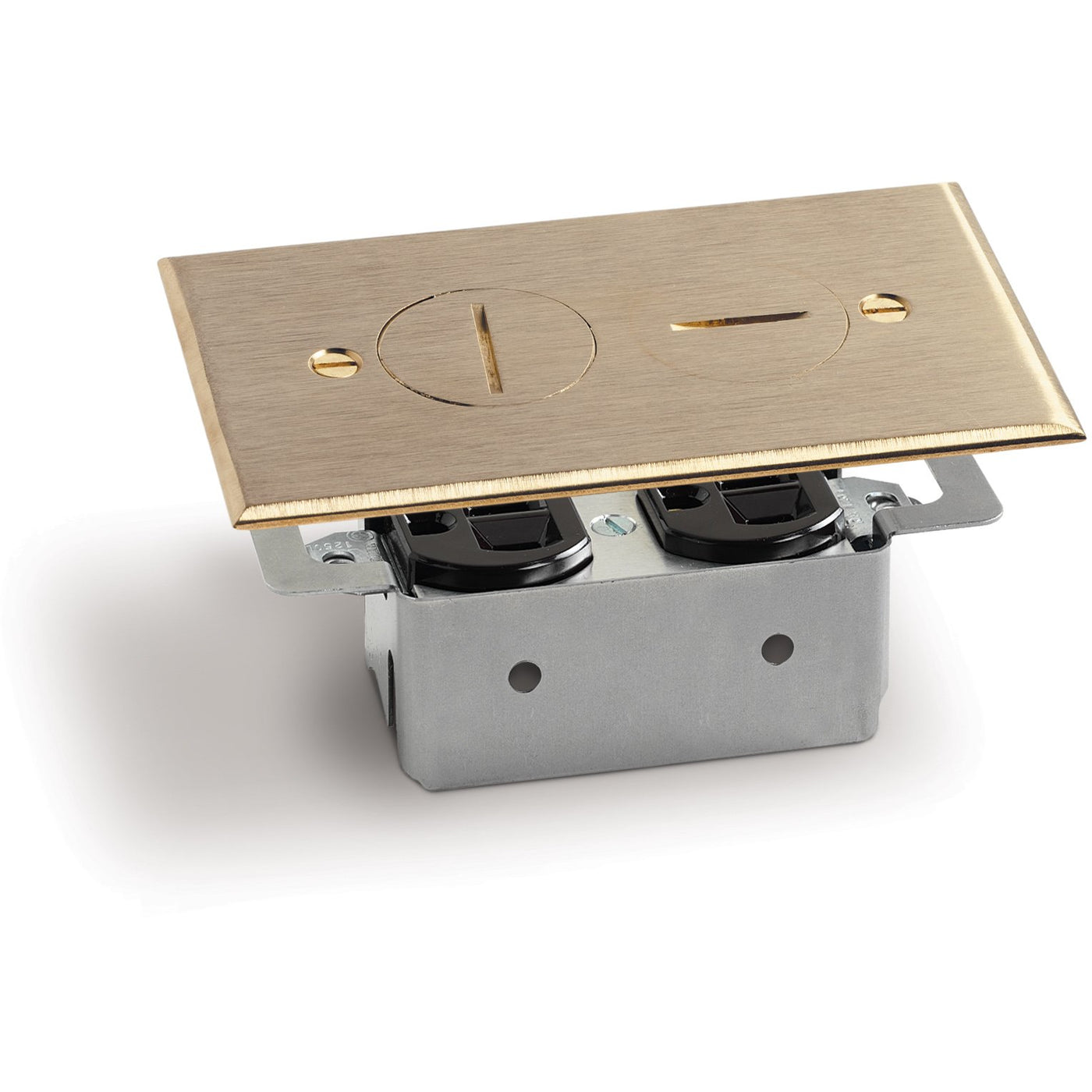 Quick Install Floor Plate No Box 1 Duplex 15a 2 Screw Plugs Brass Wiring Receptacles In One