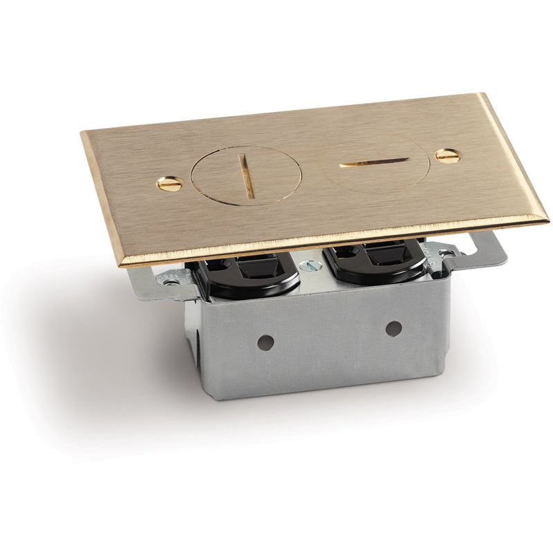 Quick Install Floor Plate, No Box, 1 Duplex 15A, 2 Screw Plugs, Brass