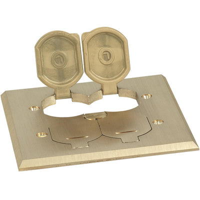 Lew Electric RRP-4-BP-LR 2 Duplex Flip Lid Cover for SWB-4, Brass