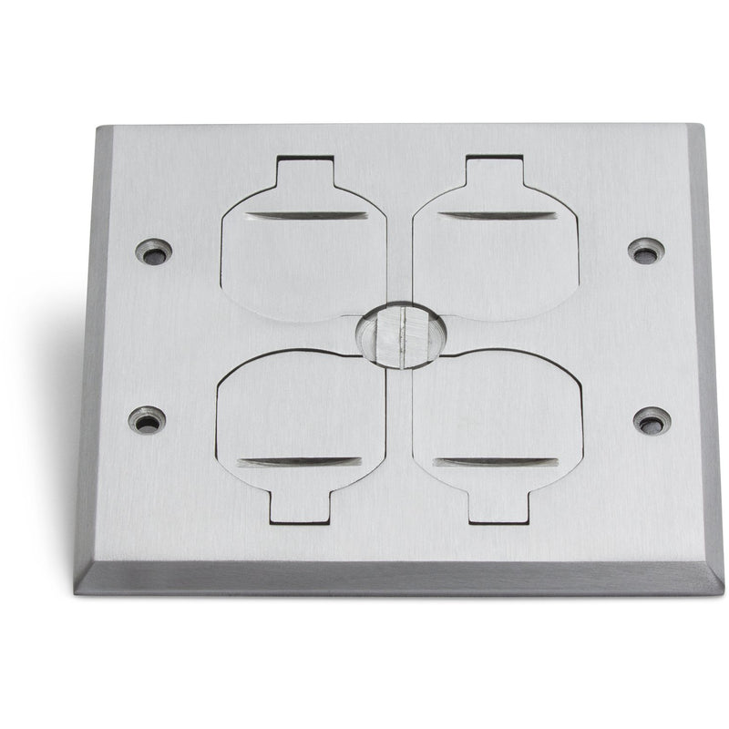 Recessed Floor Plate w/ Box, Two 15A Duplex, 4 Flip Lids, Aluminum