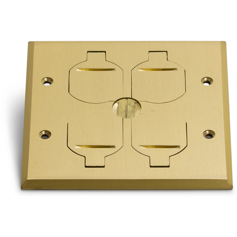 Recessed Floor Plate w/ Box, Two 15A Duplex, 4 Flip Lids, Brass