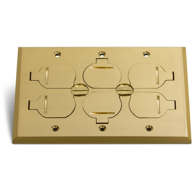 3 Duplex 15A Power Plastic Floor Box with Flip Lids - Brass Cover