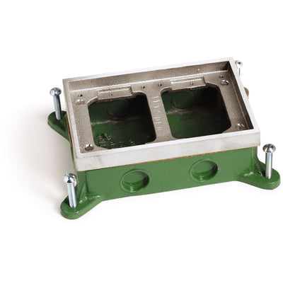 Lew Electric SH-6262-58-A 2 Gang Shallow Concrete Floor Box, Aluminum