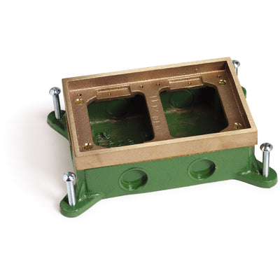 Lew Electric SH-6262-58 2 Gang Shallow Concrete Floor Box, Brass
