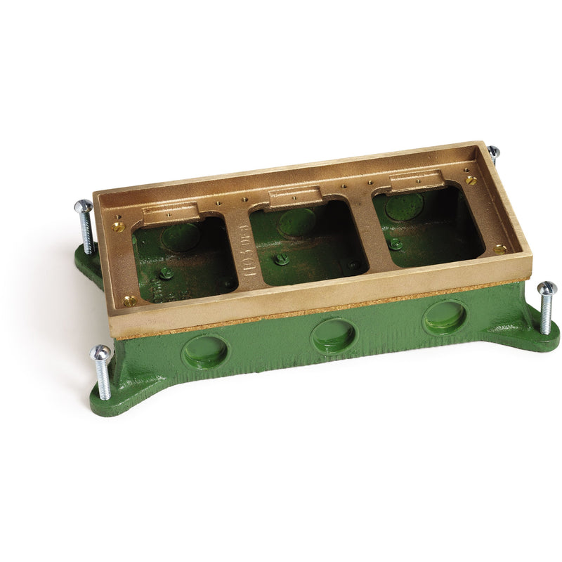 Lew Electric SH-6263-58 3 Gang Shallow Concrete Floor Box, Brass