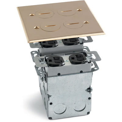 Lew Electric SWB-4 2 Duplex Floor Plate, Box, Screw Plugs, Box, Brass