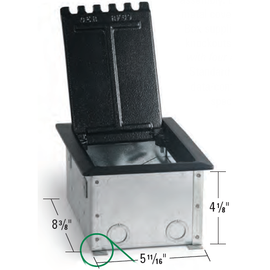 Lew Electric RF9C Raised Access Floor Box, 4 Decora Openings - Dimensions