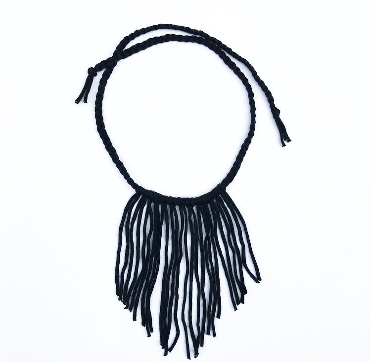 Boho Fringe Necklace - Black-westcoastmocs