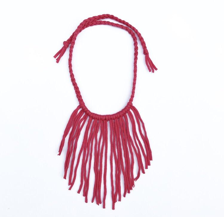 Boho Fringe Necklace - Coral-westcoastmocs