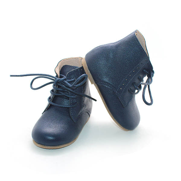 Vintage Lace Up Boot - Navy - westcoastmocs