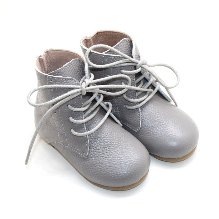 Vintage Lace Up Boot - Hard Sole - Grey
