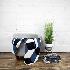 Lifestyle Photo of Illusion Indigo Throw Blanket