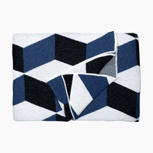 Folded Illusion Indigo Throw Blanket