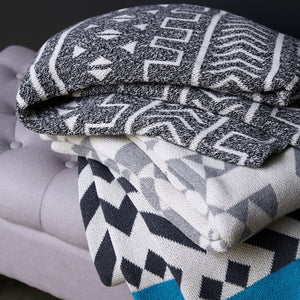 Stacked Grey Mali Throw Blanket