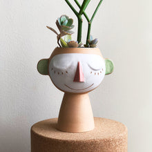 Stoneware dreamers vase on cork platform