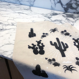 Succulent Cacti Tea Towel on Kitchen Counter Top