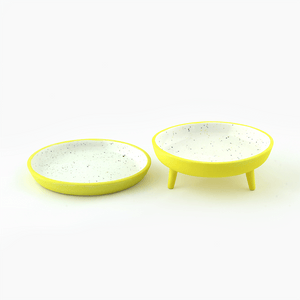 yellow speckled legged and non-legged porcelain catchalls image