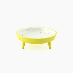 yellow speckled legged porcelain catchall