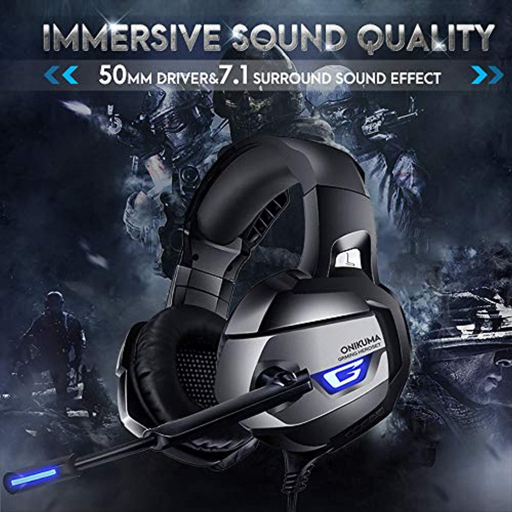 Stereo Gaming Headset for PS4, Xbox One, PC, Enhanced 7.1 Surround Sound, Updated Noise Cancelling Mic Headphones, Soft Breathing Earmuffs, Mute & Volume Control for Nintendo Switch Laptop