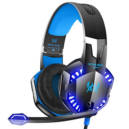 G2000 Stereo Gaming Headset for Xbox One PS4 PC, Surround Sound Over-Ear Headphones with Noise Cancelling Mic, LED Lights, Volume Control for Laptop, Mac, iPad, Nintendo Switch Games -Blue