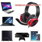 Gaming Headset for PS4 Controller,Xbox One,PC,Laptop,Mac,Tablet,Smartphone,Over Ear Noise-canceling Gaming Headphones with Mic for Nintendo Switch Games(Black&Red)