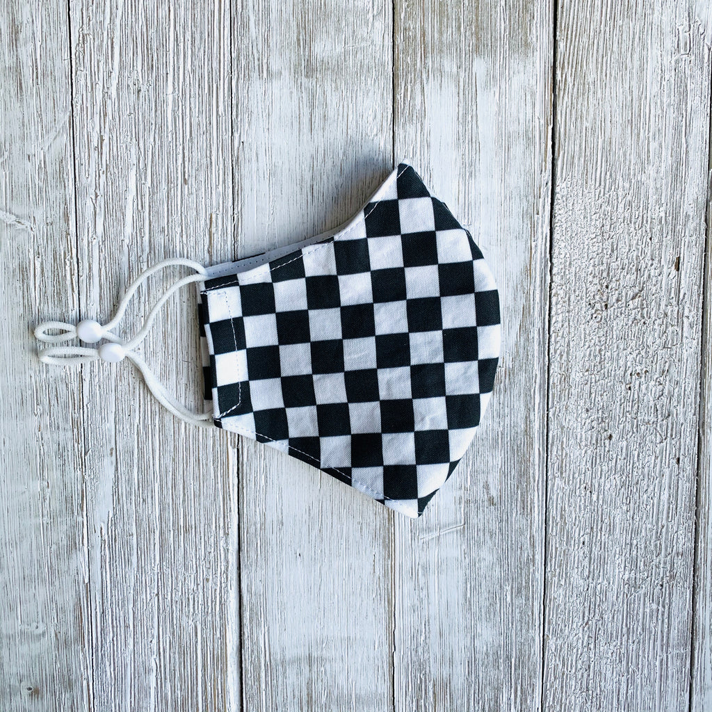 Black & White Checkerboard Fitted Mask