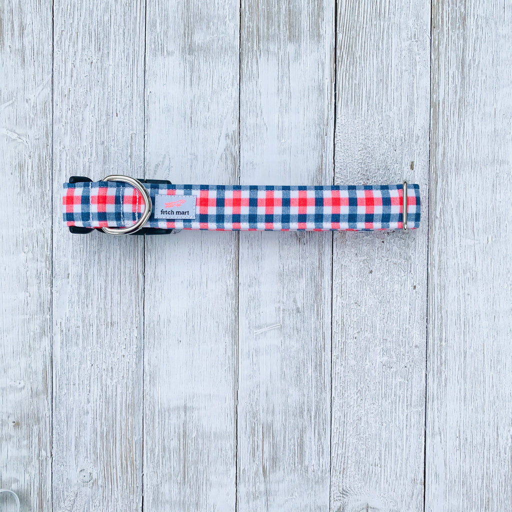 Navy & Red Gingham Collar