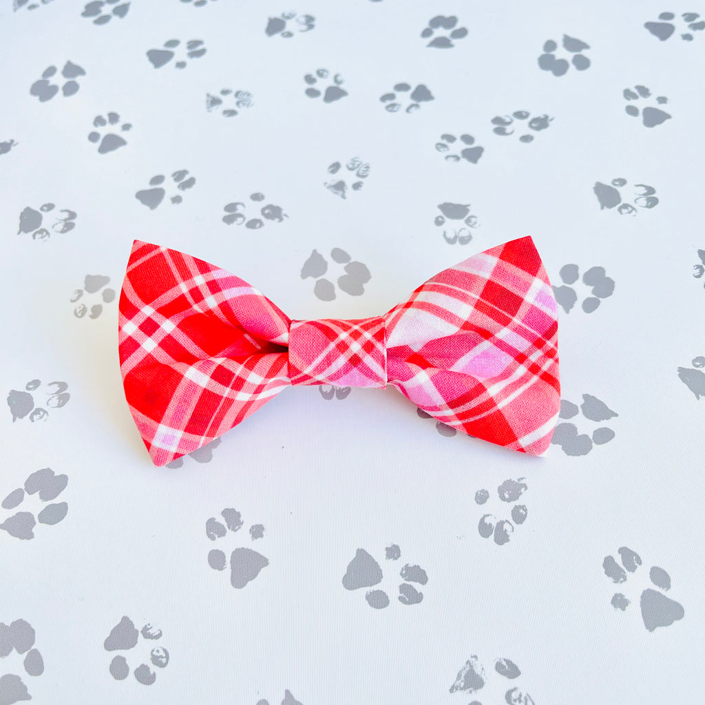 Red & Pink Plaid Bow Tie