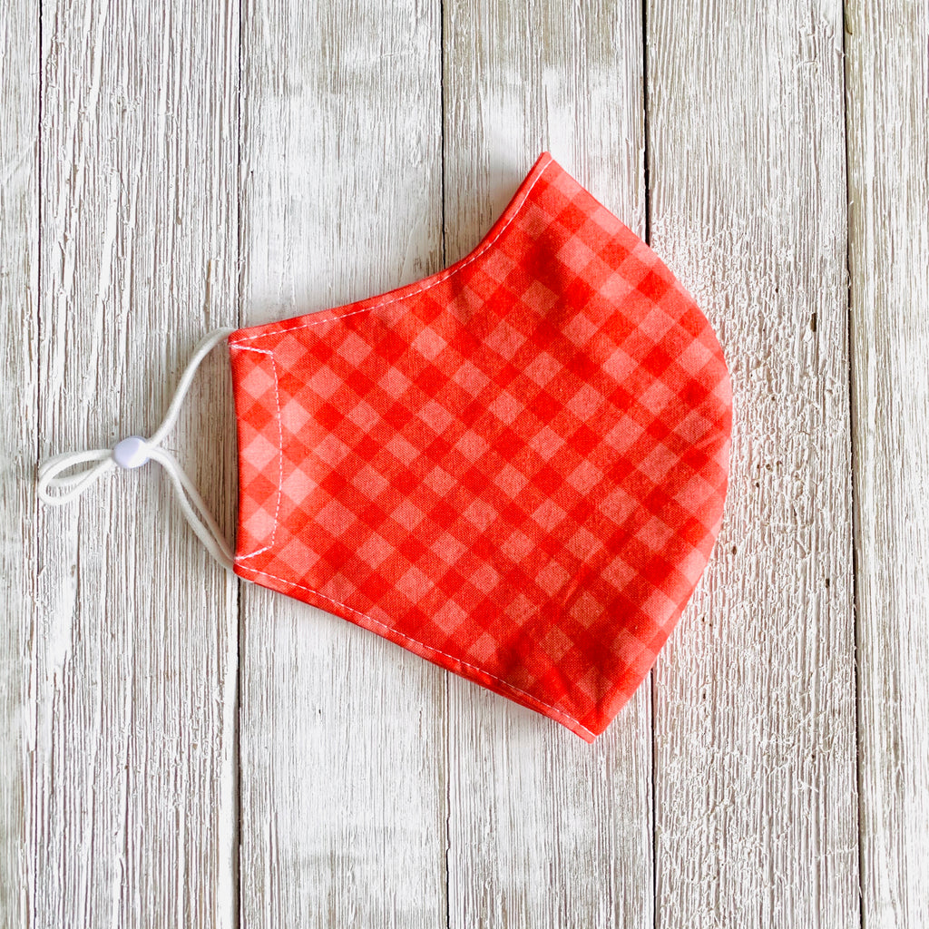 Red Gingham Fitted Mask