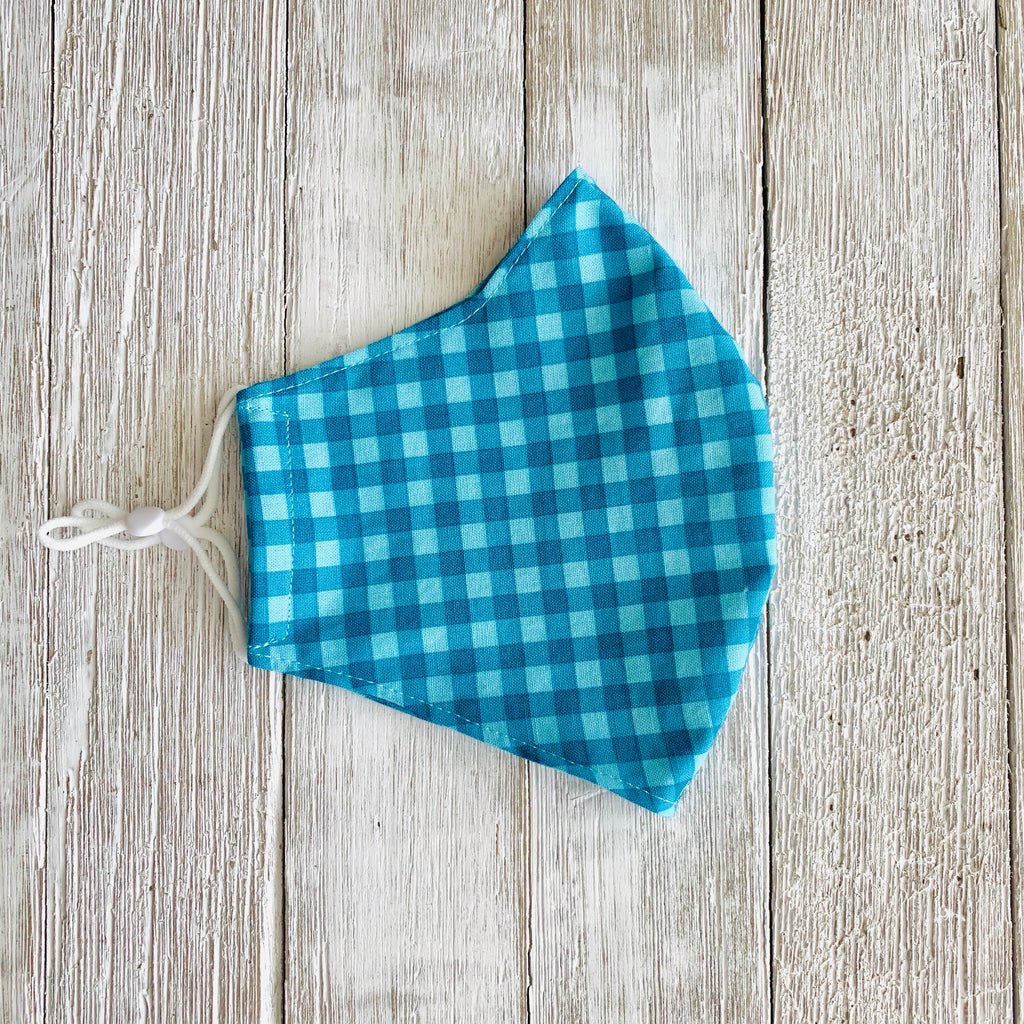 Blue Gingham Fitted Mask