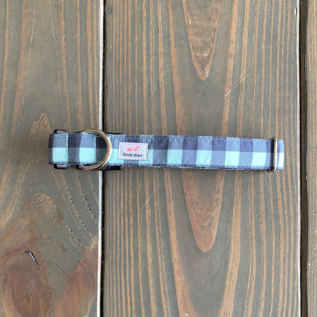 Navy & Mint Buffalo Check Leash