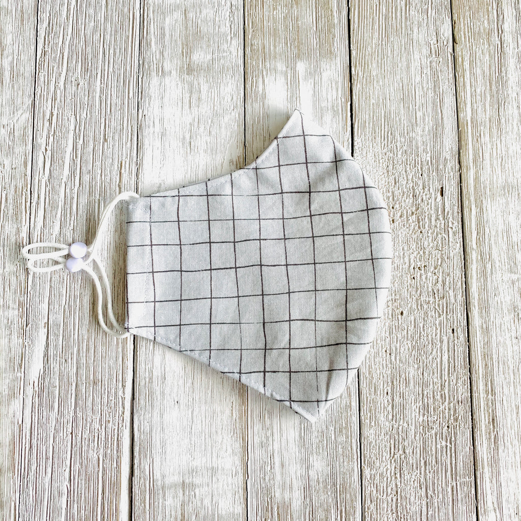 Gray Windowpane Fitted Mask